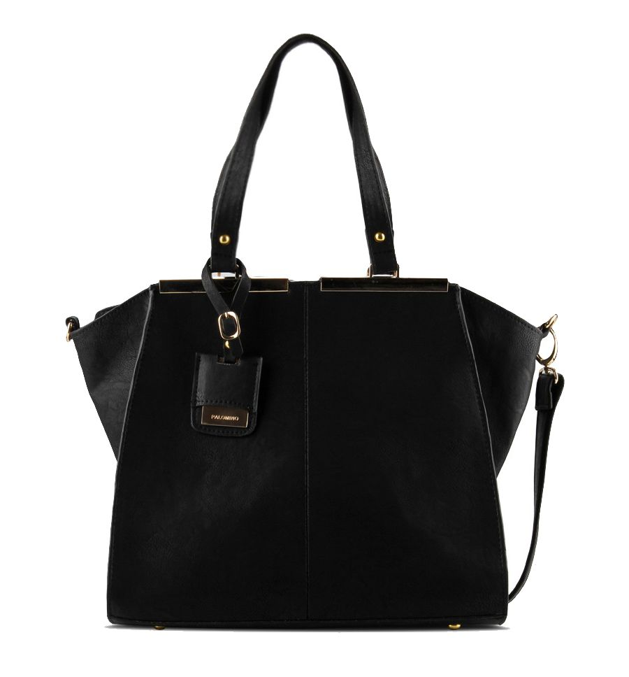 Rose Hand Bag design by Palomino. Made from synthetic leather, with black color, zipper closure, inner pocket and back pocket, hanging tag and metal frame, handle drop 24 cm, and extra sling strap 68 cm.    http://zocko.it/LDFqw