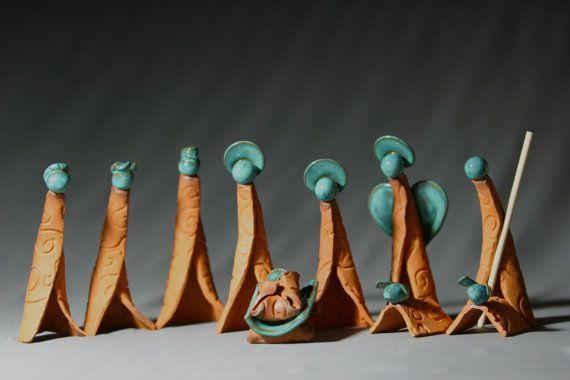 Fabriqués à la main poterie Nativité Set Nativité scène Creche crèche scène Jesus Christmas cuite avec Turquoise, par daina