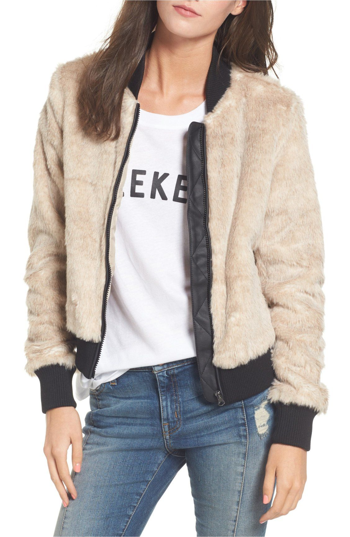 Coffee Shop Faux Fur Bomber Jacket