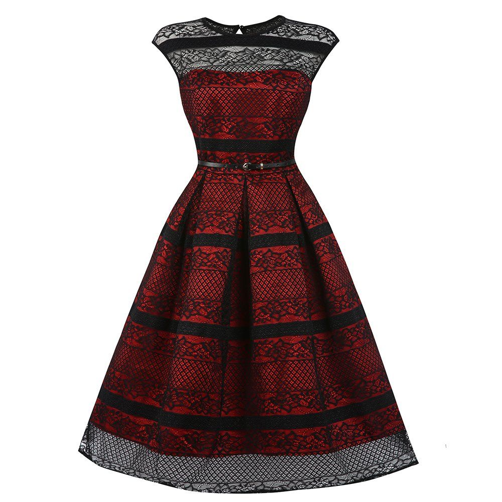 Harlowu red black swing dress lace new dress and black laces