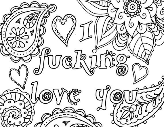 I Fcking Love You Adult Coloring Book Page Instant By Artswearapy