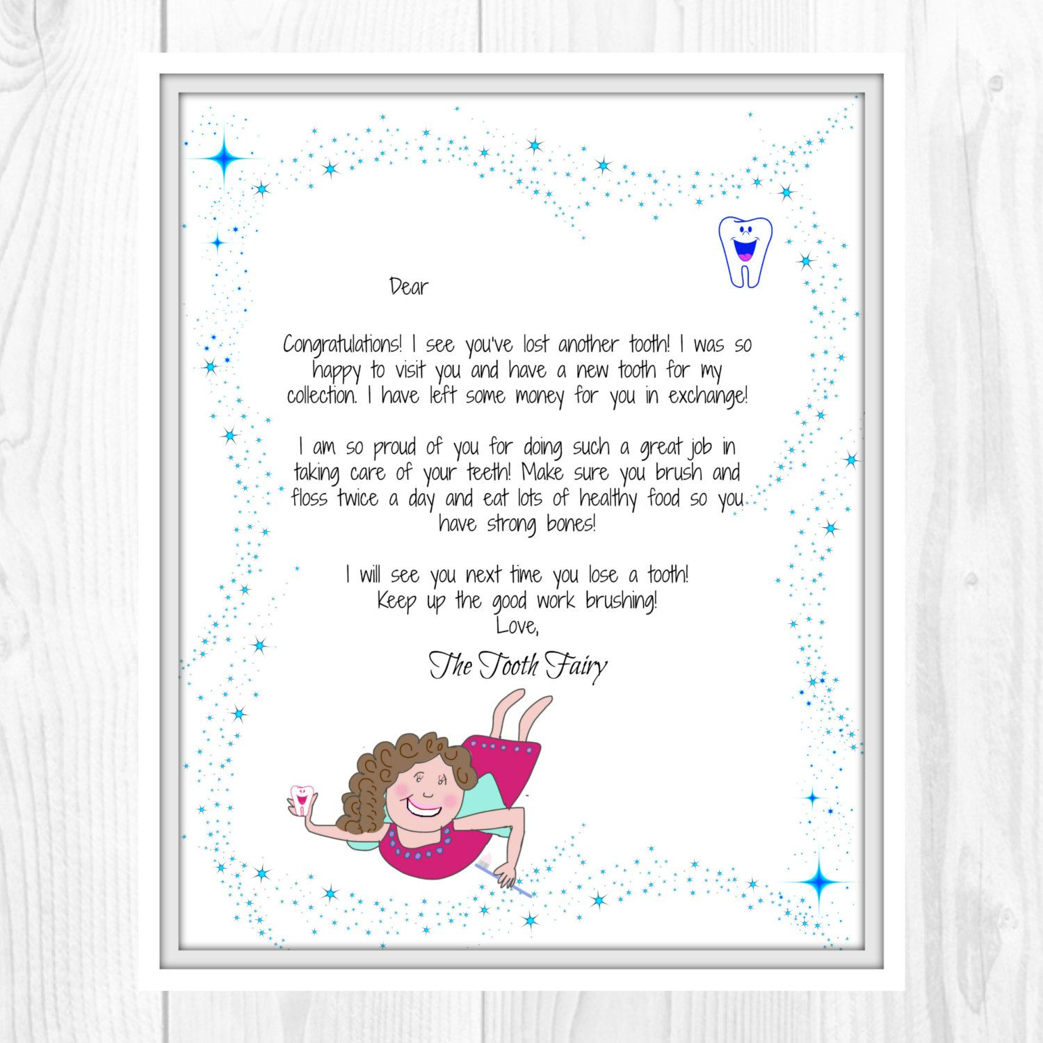 Tooth Fairy Letter Lost Tooth Child Baby Milestone Letter