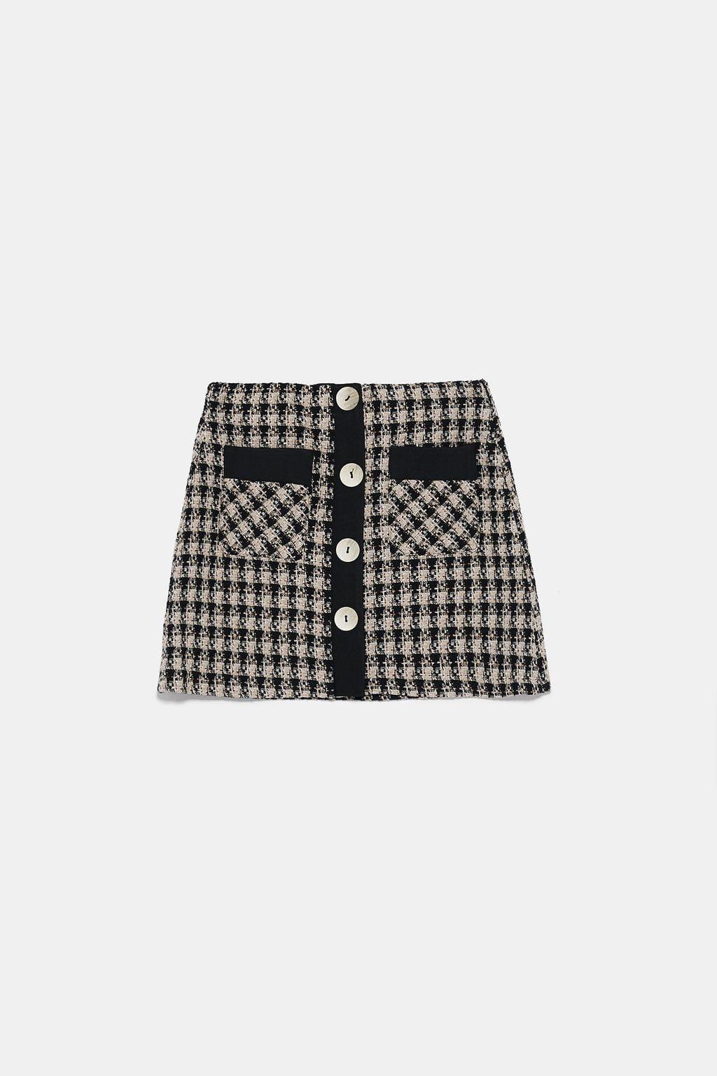 Tweedowa spódnica mini z guzikami   Zara, Spódnica mini, Guziki