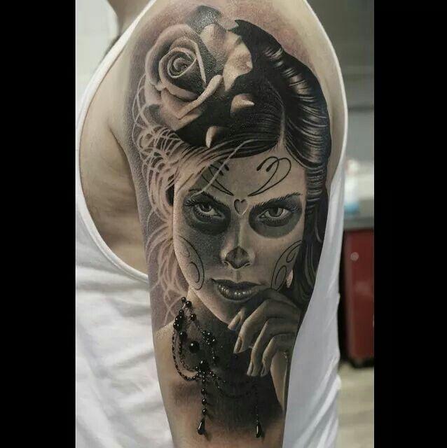 Awesome la catrina tattoo santa muerte pinterest la catrina recherche et tatouages - Santa muerte tatouage signification ...