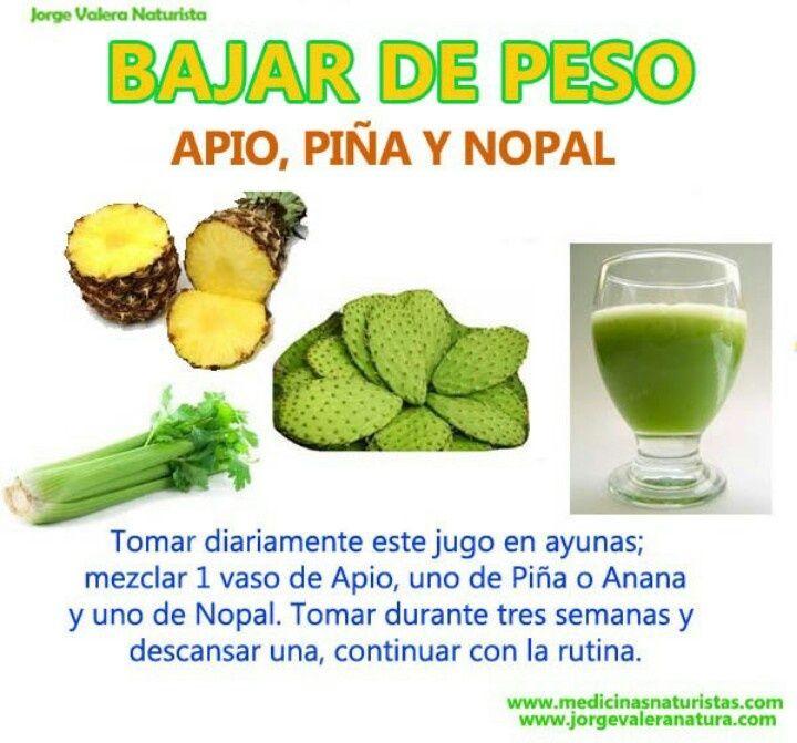 Remedio natural para bajar de peso con apio, piña y nopal
