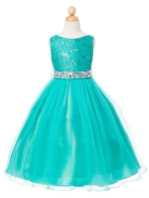 Jade Lace Bodice with Tulle Skirt Flower Girl Dress (Available in Sizes 2-14 in 7 Colors)