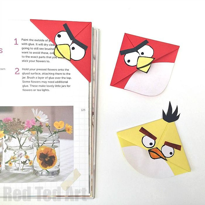 Angry bird crafts easy bookmark corners corner for Easy bookmark ideas