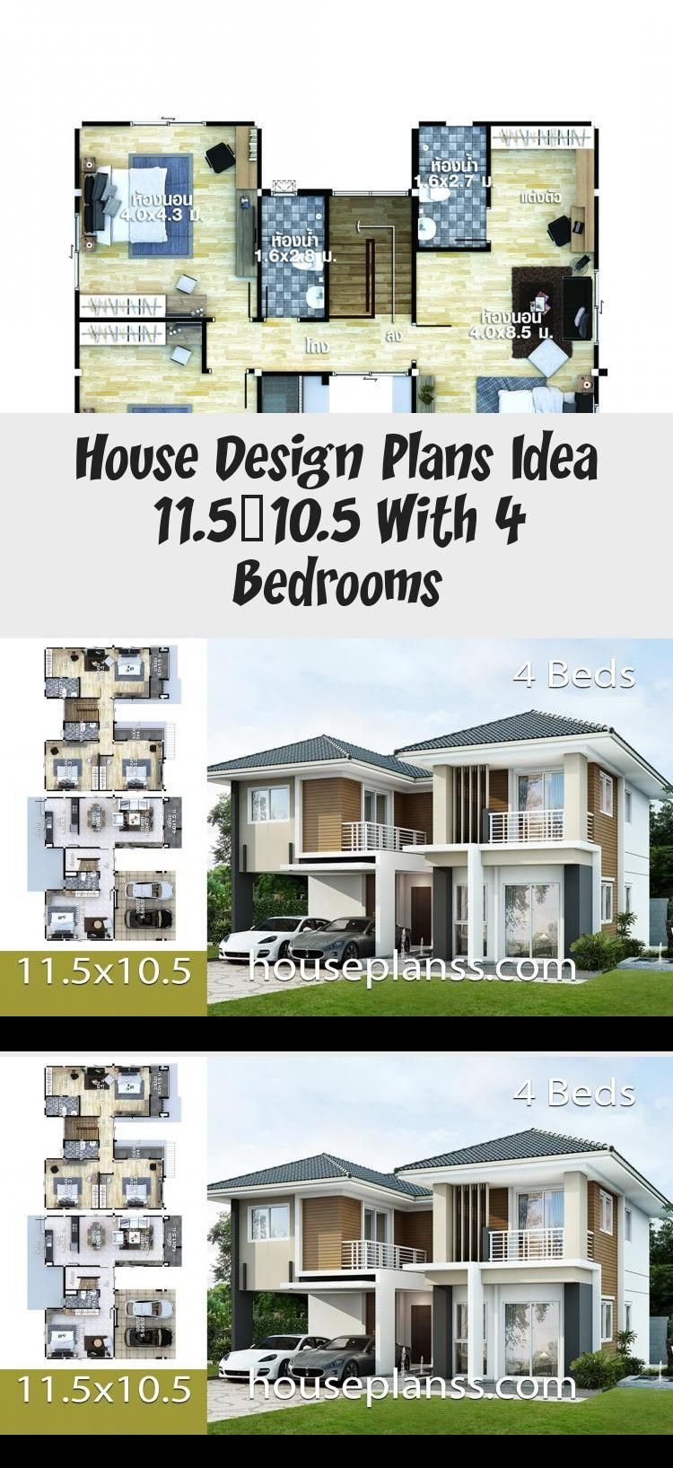 House Design Plans Idea 11 5 10 5 With 4 Bedrooms In 2020 Home Design Plans House Design Floor Plan 4 Bedroom