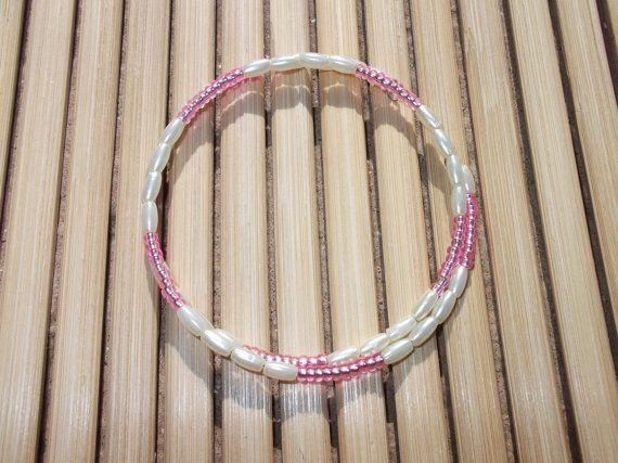 Pink and white beaded memory wire bracelet by angelsjewelleryuk, £5.00