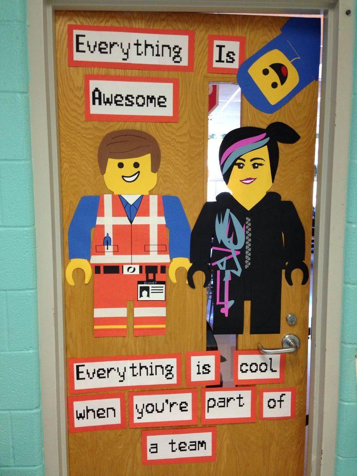 teacher door displays lego | Lego Movie door for school | School ...
