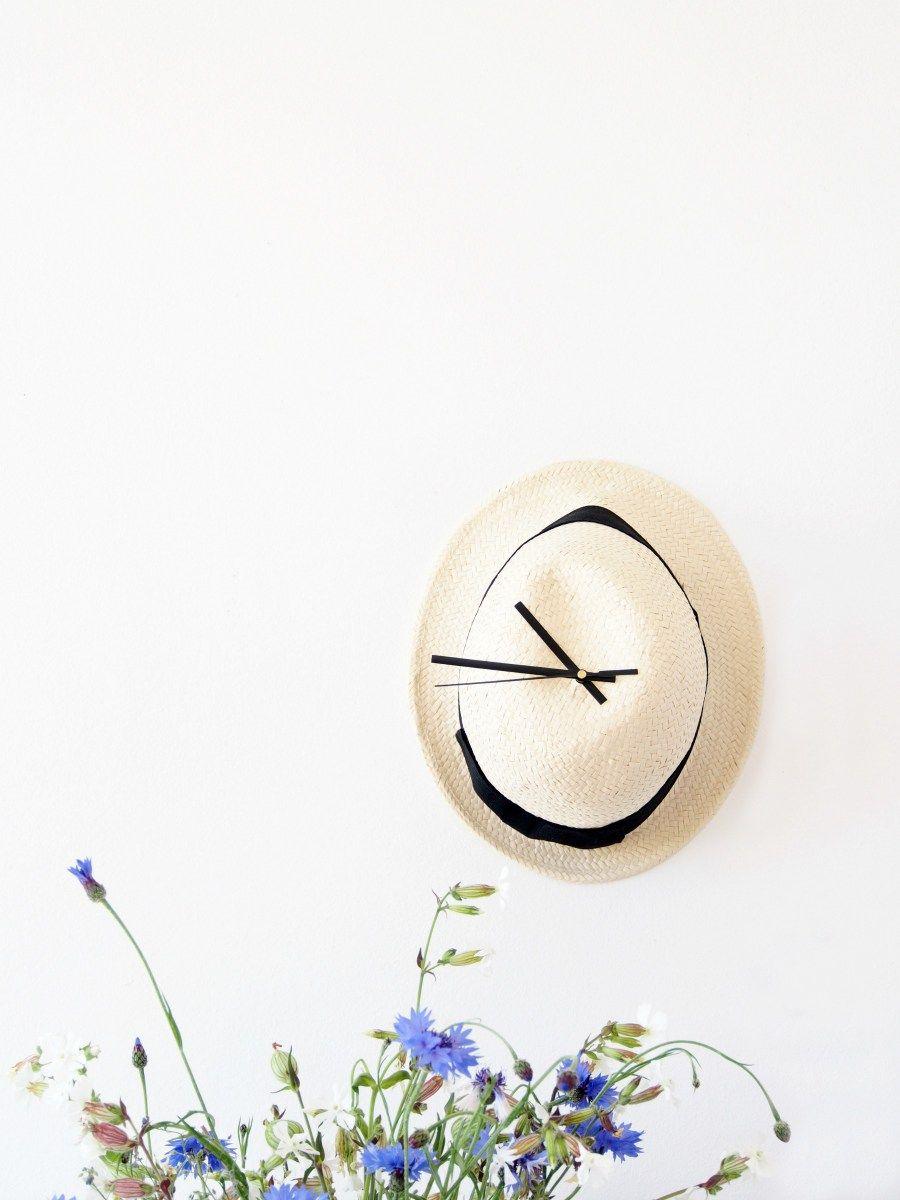 DIY Straw Hat Wall Clock