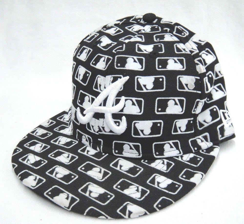 New Era Atlanta Braves Hat 7 1 8 Fitted Black With Mlb Repeating Logo 59fifty Newera Atlantabraves Atlanta Braves Hat Atlanta Braves Braves