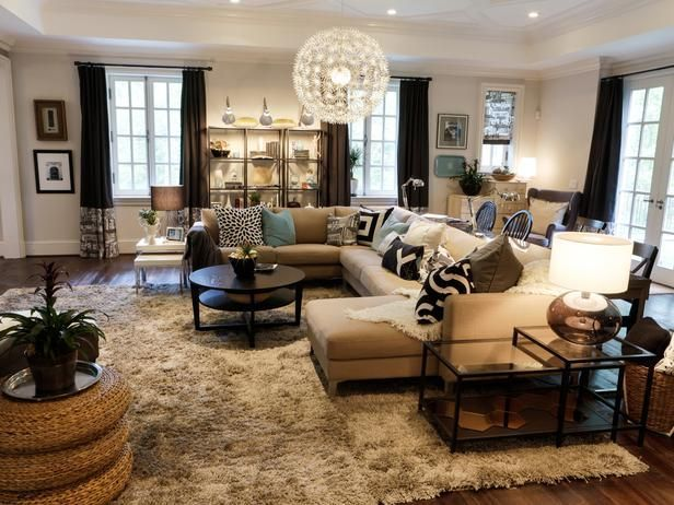 Hgtv Living Room Designs Family Room With Hardwood Flooring And Netural Sectional Sofa