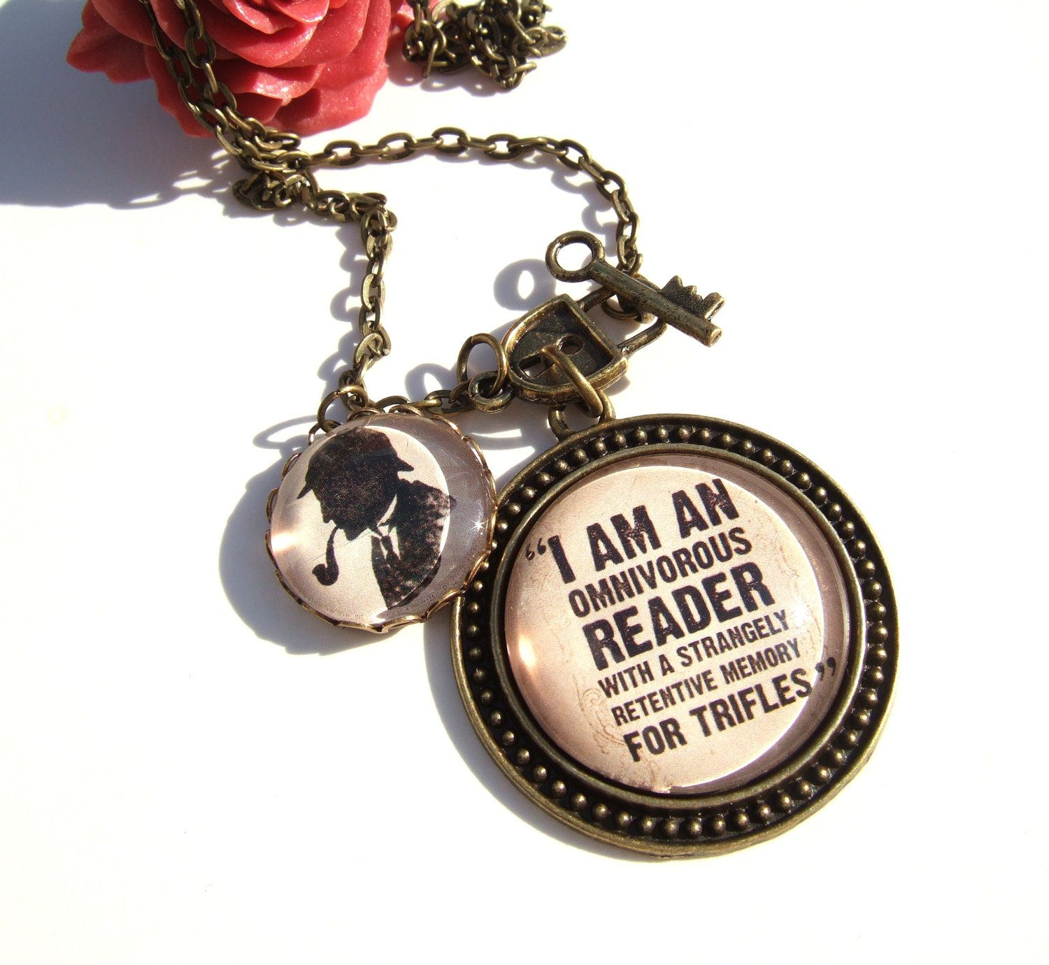 Sherlock Necklace-Sherlock Jewellery-Literary Gift for Her-Reader Gift- Sherlock Quote Jewellery