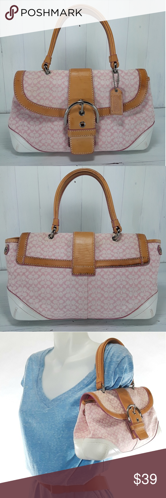 6e024c49f28 Coach Pink Canvas Leather Trim Small Bag Monogrammed canvas with tan and  white leather trim, flap over with a magnetic button closure, buckled  detail, ...