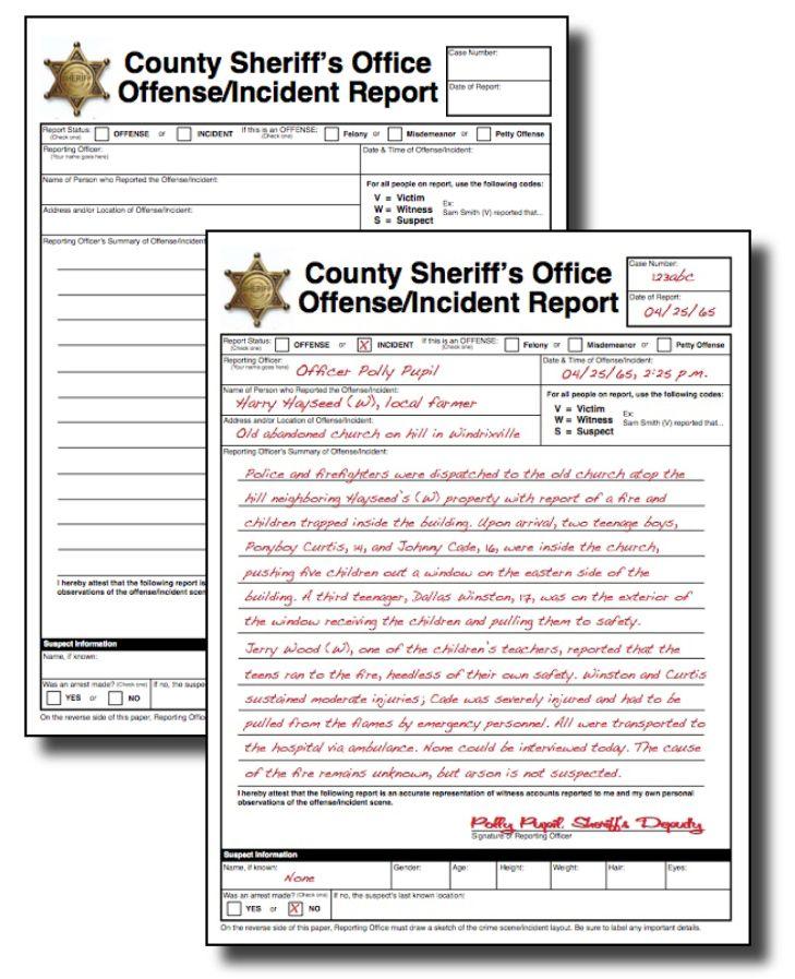 Police Report Taken From An English Teacher  Book Report Ideas