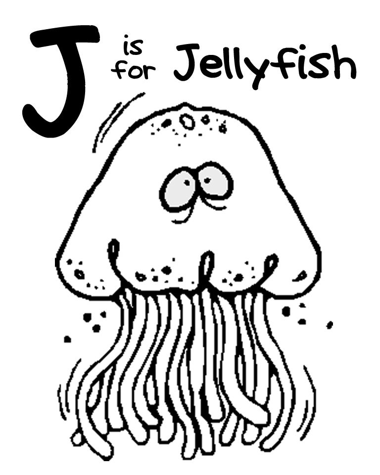 Jellyfish Animal Coloring Pages. A Z Zoo Animal Coloring Pages  J pages free printable We Love Being Moms Letter Jellyfish is for