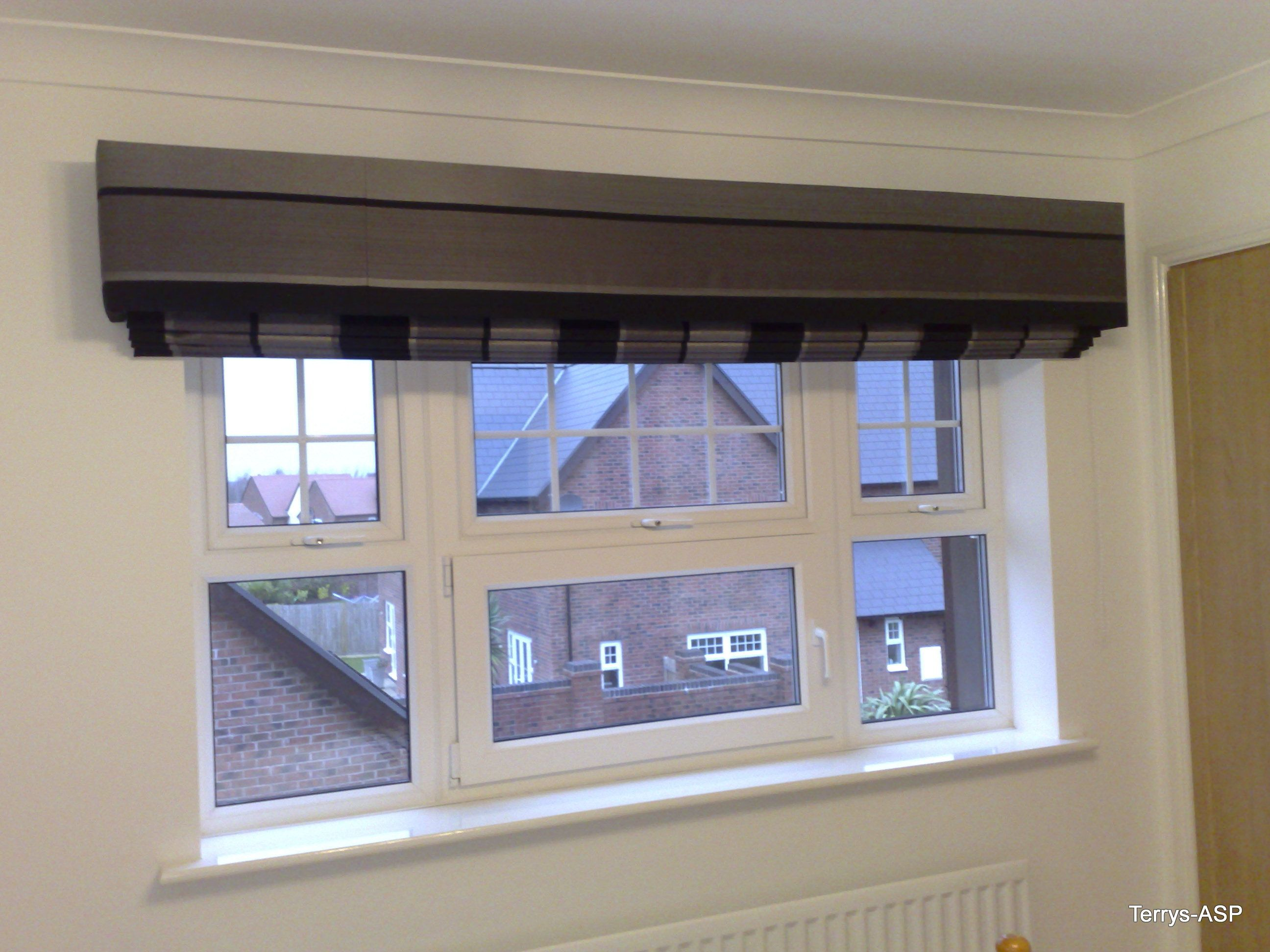 Extra Wide Roman Blind Behind And Upholstered Box Pelmet