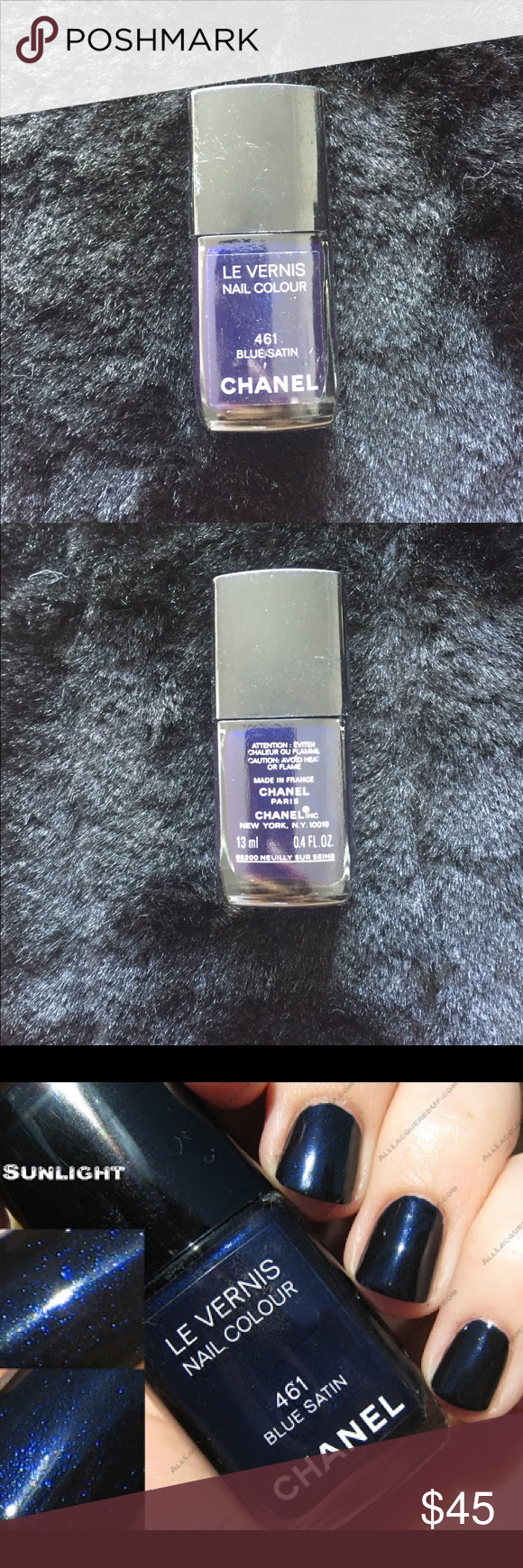 Rare Chanel Polish Blue Satin 461 Limited edition and Rare color. No ...