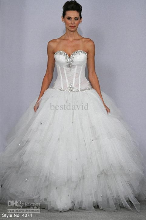 Sexy Ball Gown Beaded Pnina Tornai Bling Bling Wedding Dresses 4074 ...