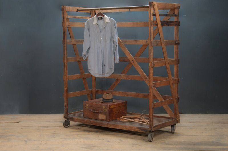 USA, 1920s, Vintage Industrial Columbia Factory Clothiers Rolling Garment  Display Rack. Old Growth