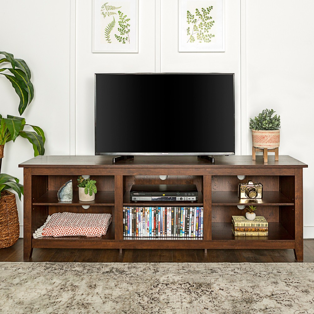 Wood Storage Console Tv Stand For Tvs Up To 80 Traditional Brown Saracina Home In 2021 Tv Stand Furniture Tv Stand Wood Tv Stand Decor