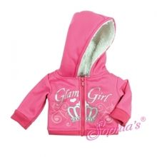 """Pink glam girl sweatshirt that fits 18"""" american girl dolls. Use special discount code PIN10"""