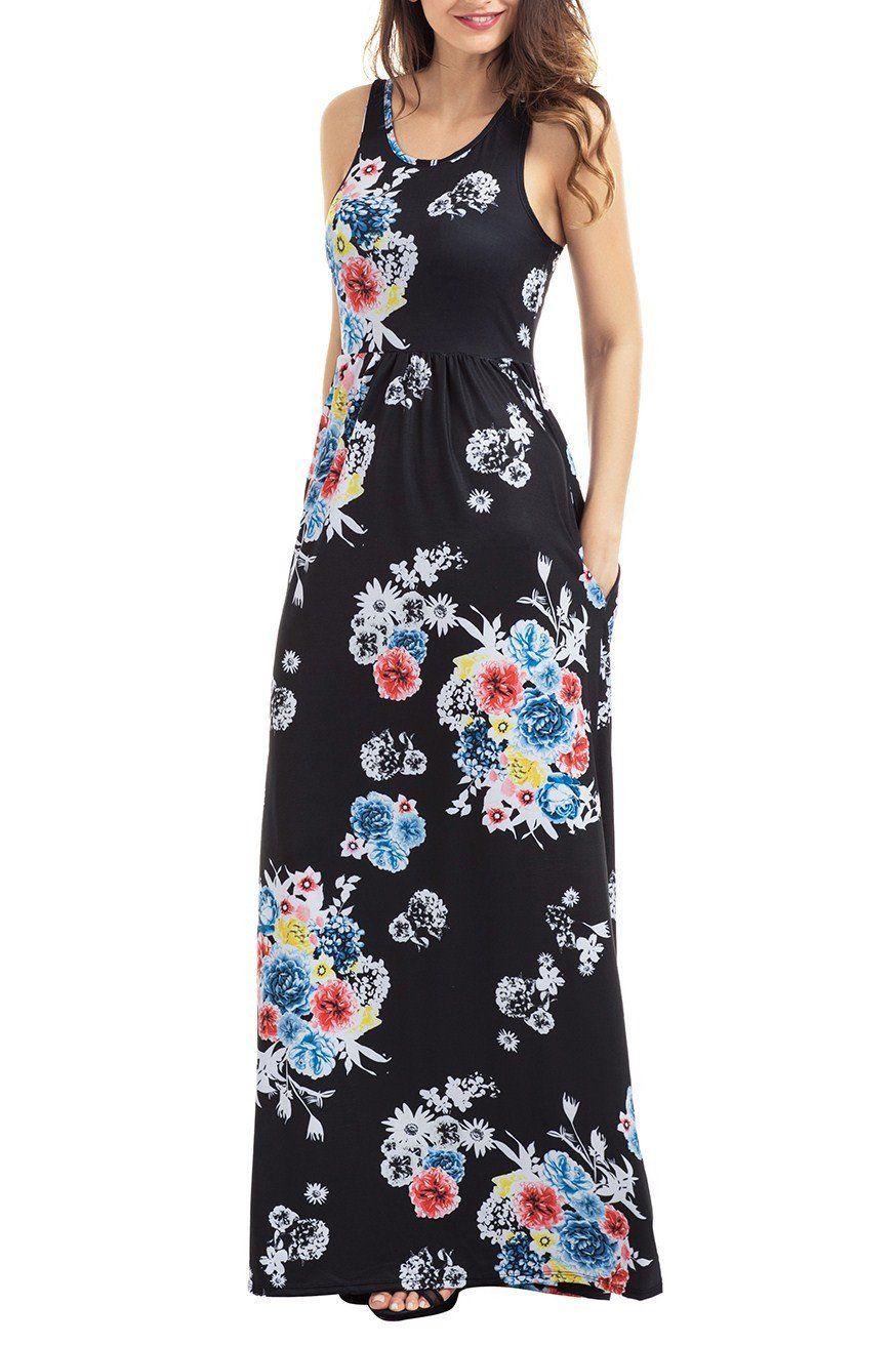 Robe longue noire fleurie ete sans manches poches design