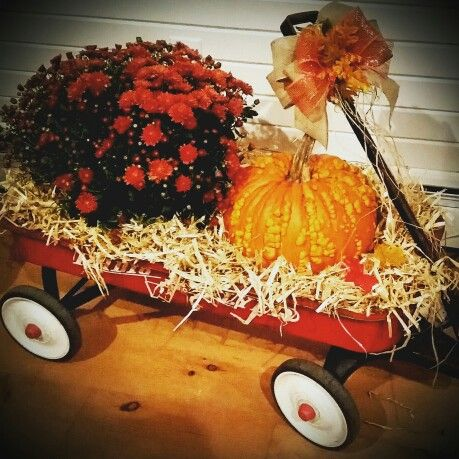 Pair of fall  Halloween wagons orange wagons harvest centerpiece. fall decorations