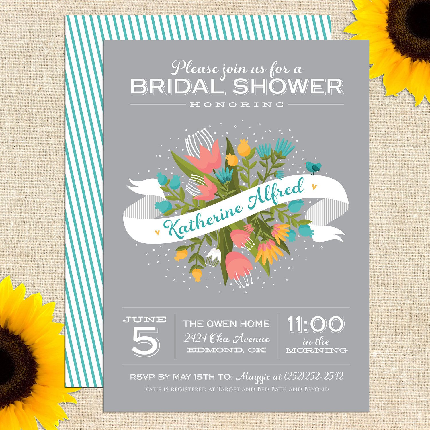 Sweet Bliss Bridal Shower Invitation DIY PRINTABLE. $20.00, via Etsy.