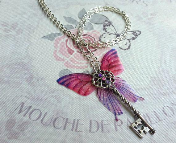 Schöne rosa & lila Schmetterling geflügelten von TheFaeMarketPlace