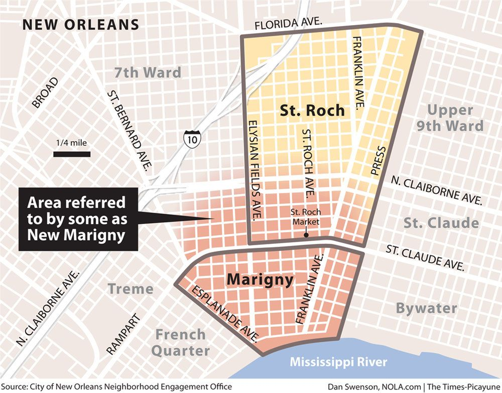 map of marigny new orleans St Roch Gentrification Ground Zero In New Orleans New Orleans map of marigny new orleans