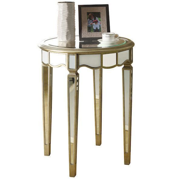 Brushed Silver Mirrored 24 Diameter Scalloped Accent Table
