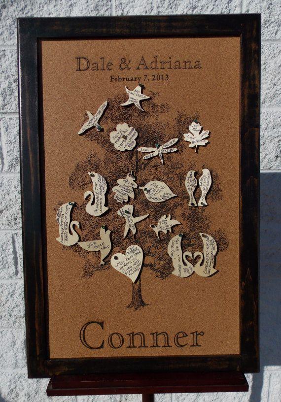 Wedding Guest Book Alternative Custom Engraving Cork Board By Phds 125 00