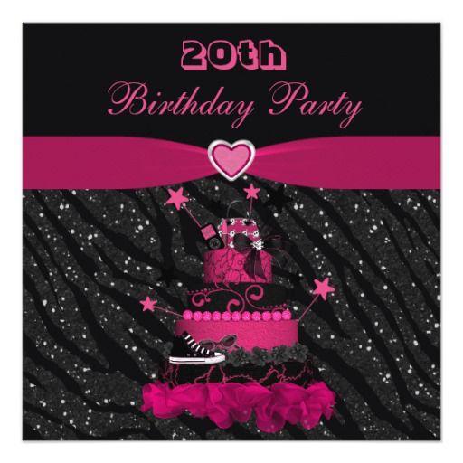 Trendy Pink Cake Zebra Stripes 20th Birthday Card