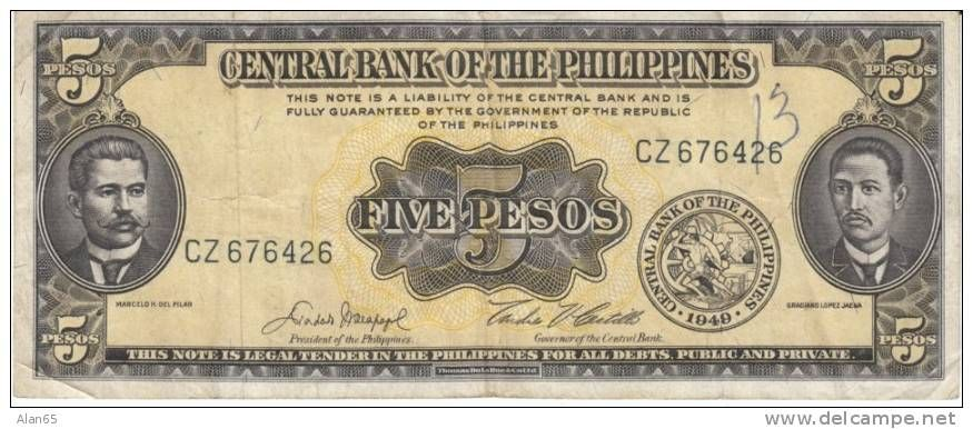 Five pesos Philippines Currency | R I Blanco | Money notes