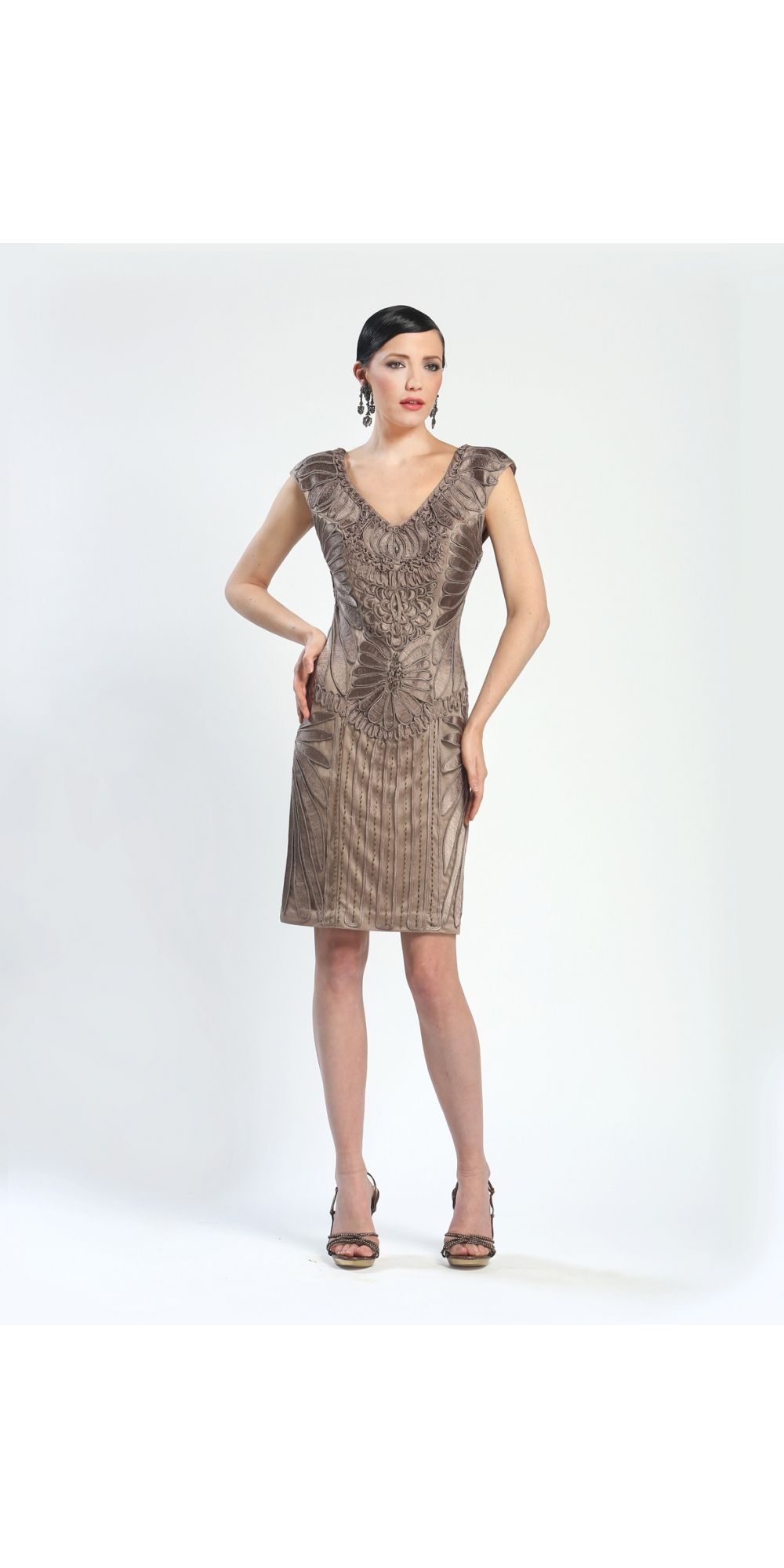 Sue Wong Taupe Short V-Neck Dress #vintage #decodress #partydress ...