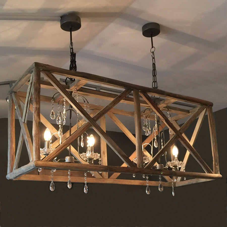 Wood crystal chandelier lighting in 2019 wooden chandelier