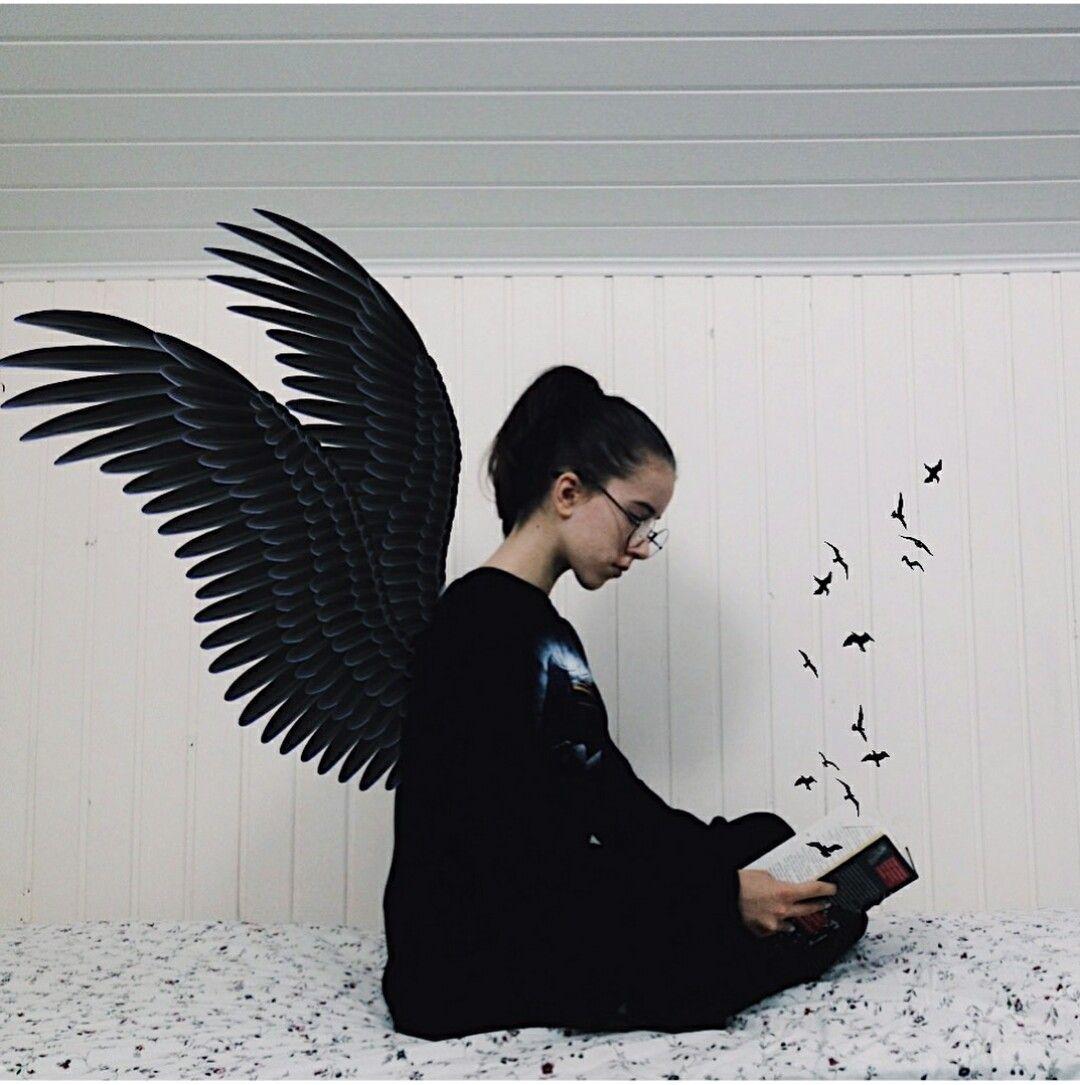 сохры │ чёрный │ крылья │ чёрные крылья │ девушка │ книга ...