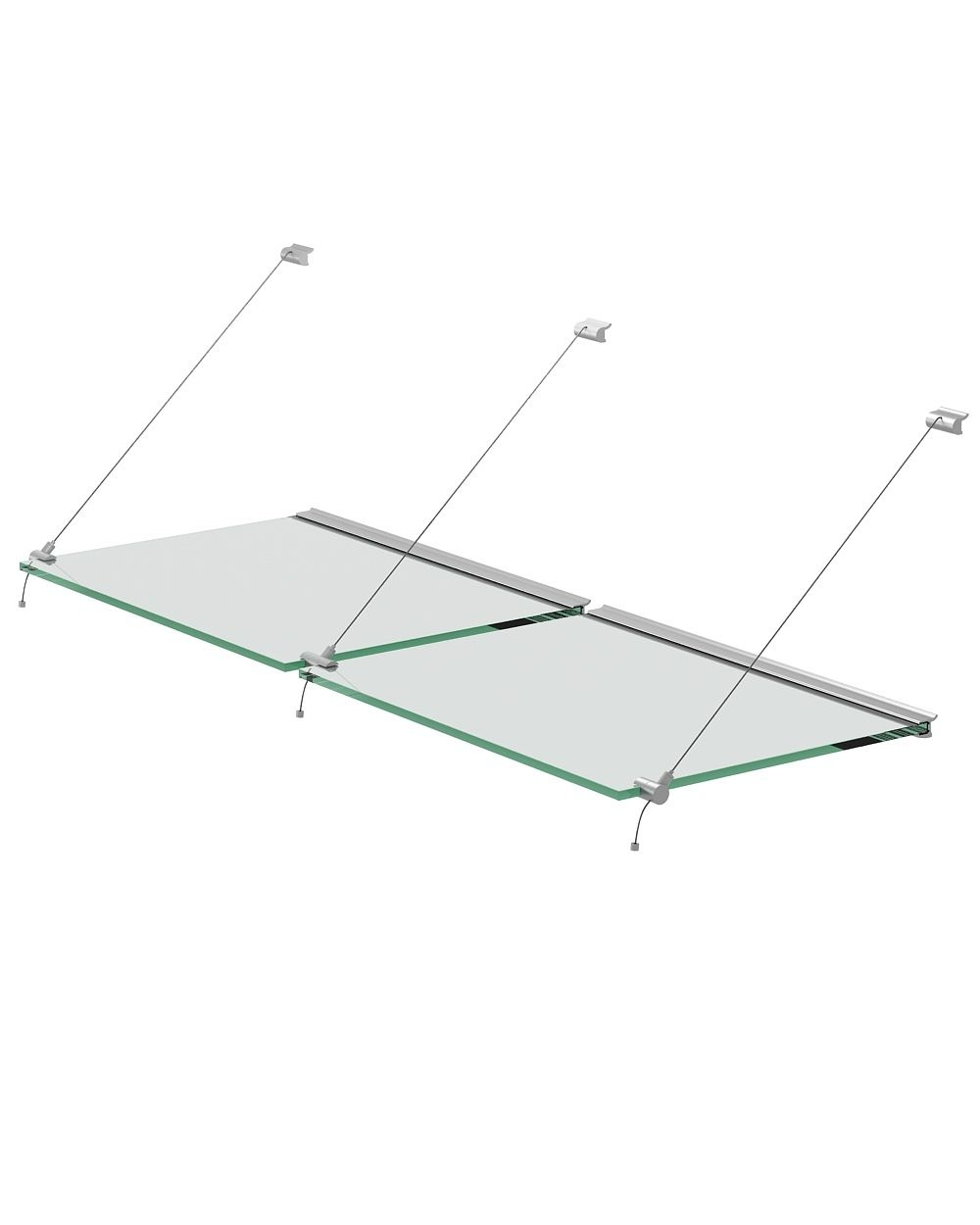 Steel wire system set for glass shelves of 10mm thickness, with ...