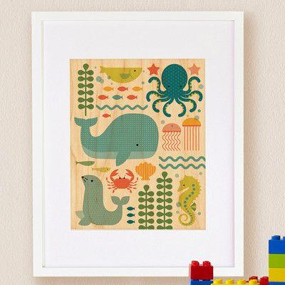Petit collage ocean parade small framed art