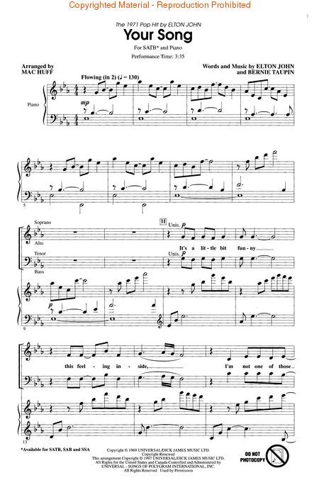 Sheet Music Your Song Elton John Google Search Partition