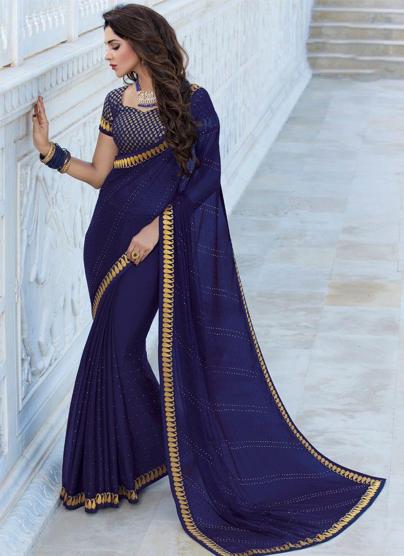 5859bb0b8ab95d Buy Dark Blue Color Satin Chiffon Saree Online | Sarees in 2019 ...