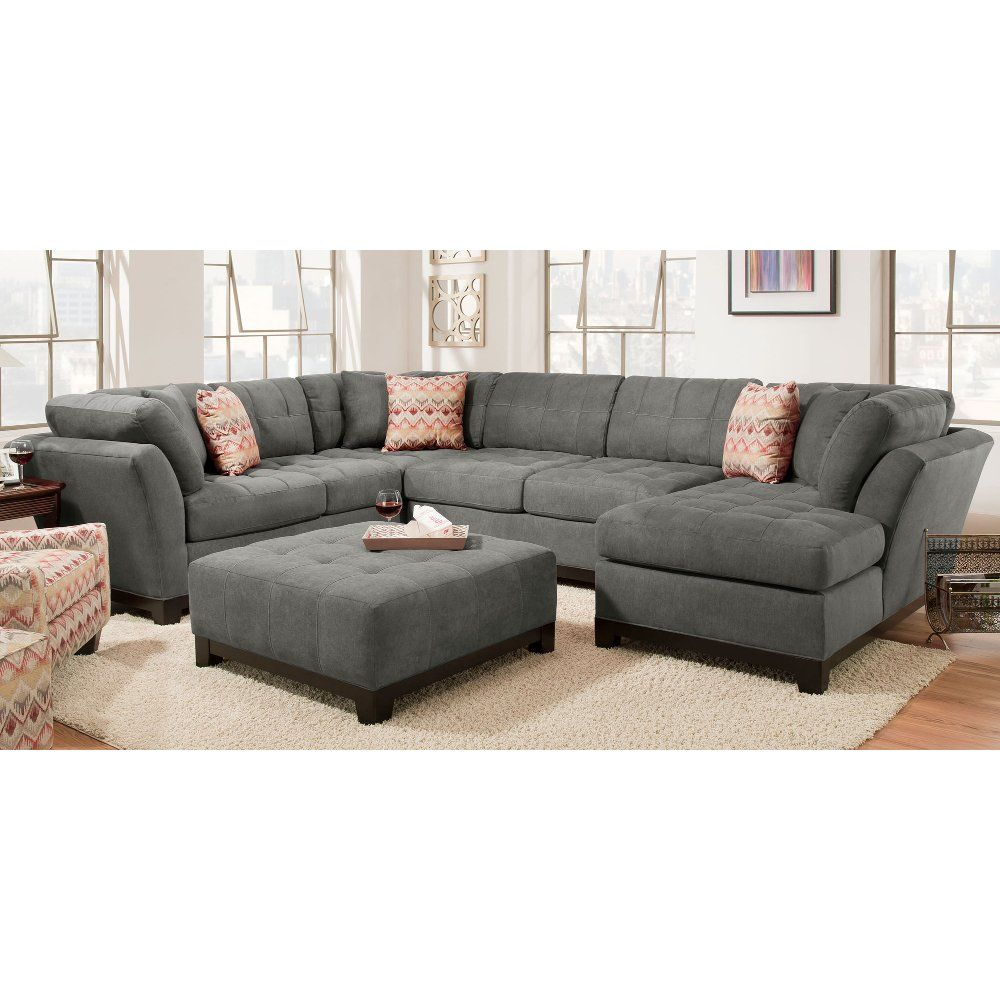 Contemporary Gray 3 Piece Sectional Sofa With Raf Chaise Loxley Rc Willey Furniture Store 3 Piece Sectional Sofa Grey Sectional Sofa Contemporary Sectional