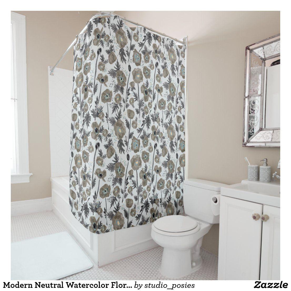 Modern Neutral Watercolor Floral Pattern Shower Curtain | Zazzle.com