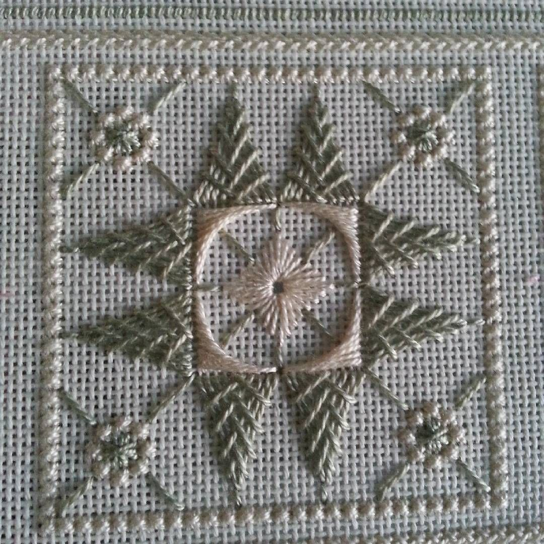 """""""I forgot to post this. It's the center square. I decided to use two dmc perl cotton colors. I really like how it came out #sjdesigns 18th century sampler…"""""""