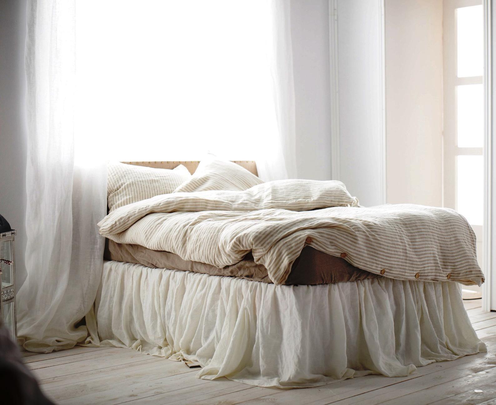Linen Bed Skirt Ruffled Bedskirt Queen Size Linen Bedding Handmade Bedskirt Choose The Drop Morning Sun Bed Bedskirt Linen Bedding