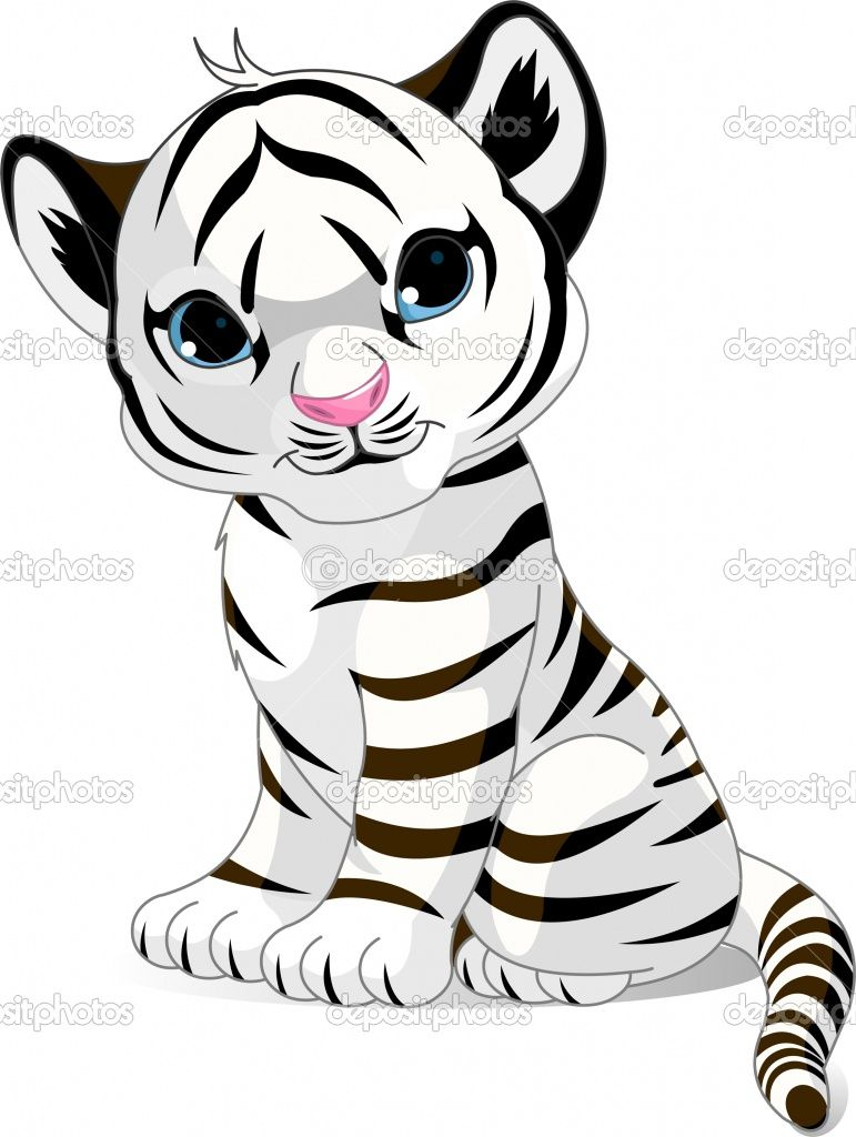 Tiger+Cub+Coloring+Pages | Cute White Tiger Cub | Stock Vector ©