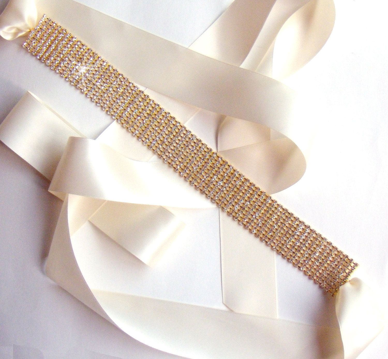 Gold belt for wedding dress  Gold Wedding Dress Sash or Headband Custom Satin by GetNoticed