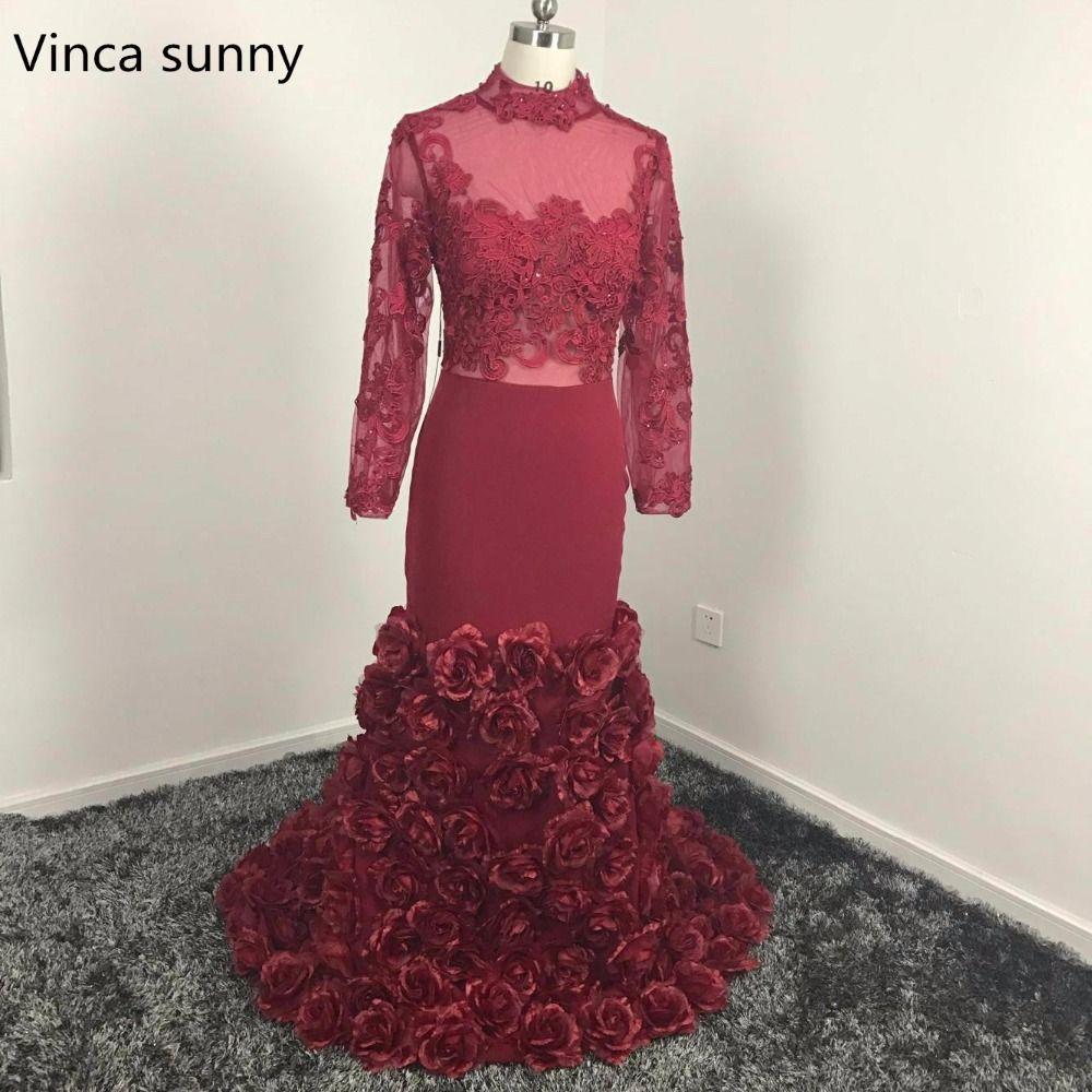 Click to buy ucuc sexy burgundy evening dress mermaid long sleeve